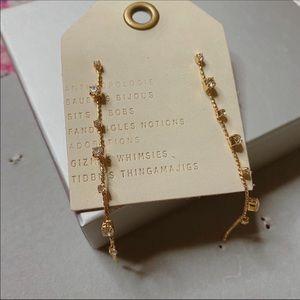 NWT Anthropologie Crystal Long Gold Earrings
